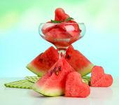 Fresh watermelon and watermelon dessert, outdoors — Stockfoto