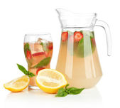 Basil lemonade with strawberry, isolated on white — Stock Photo