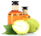 Osage Orange fruits (Maclura pomifera) and medicine bottles, isolated on white — Stock Photo