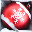 图库照片: Beautiful packaged Christmas ball, close up