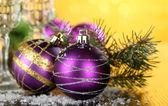 Christmas decorative balls on bright background — Stock Photo
