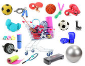 Sports equipment collage isolated on white — Stock Photo