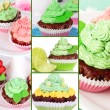 Collage of tasty cupcakes — Stock Photo