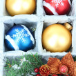 Beautiful packaged Christmas toys, close up — Stock Photo #32503415