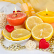 Romantic lighted candles close up — Stock Photo #32503471