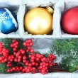 Beautiful packaged Christmas balls, close up — Photo #32503553