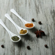 Assortment of spices in  white spoons, on wooden background — Stock Photo