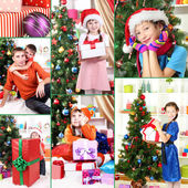 Collage of happy family celebrating New Year at home — Stock Photo