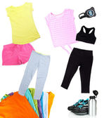 Collage of sportswear isolated on white — Stock Photo