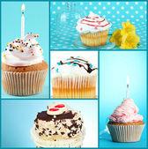 Collage de diferentes deliciosos cupcakes — Foto de Stock