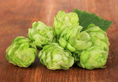 Fresh green hops, on wooden background — Stock Photo