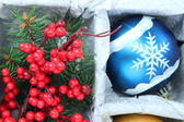 Beautiful packaged Christmas ball, close up — Stock fotografie