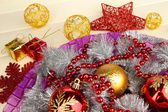 Christmas decorations close up — Stock Photo