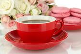 コーヒーとマカロンのクローズ アップ — ストック写真