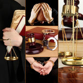 Conceptual collage of litigation — Stockfoto