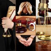 Koncepcyjne kolaż postępowania sądowego — Zdjęcie stockowe