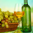 Ripe grapes in wicker basket, bottle and glass of wine, on bright background — Stock Photo