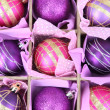 Beautiful packaged Christmas balls, close up — Foto de stock #32561857