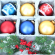Beautiful packaged Christmas balls, close up — Photo #32561943