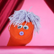 Stock Photo: Puppet show on pink background