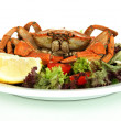Stock Photo: Boiled crab on white plate with salad leaves and tomatoes, isolated on white