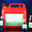 Stock Photo: Bio fuels in canister and vials on blue background