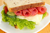 Tasty sandwich with salami sausage and vegetables on white plate, on wooden background — Stock Photo