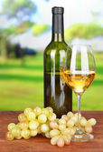 Ripe grapes, bottle and glass of wine, on bright background — Stock Photo