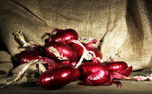 Fresh red onions in cellar — Stock Photo