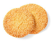 Homemade cookies with sesame seeds, isolated on white — Stock Photo