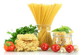 Different types pasta with vegetables isolated on white — Stock Photo