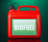 Bio fuels in canister on green background — Stock Photo