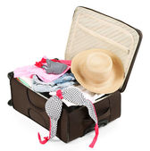 Suitcase with clothes isolated on white — Stock Photo