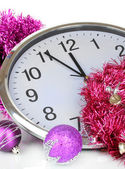 Composition of clock and christmas decorations isolated on white — Stockfoto