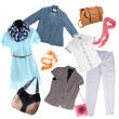 Collage of modern clothes and accessories isolated on white — Stock Photo #32622347