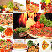 Collage of delicious pizza with ingredients — Stock Photo