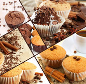 Collage of chocolate cupcakes — Stock Photo