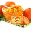 Orange jam with zest and tangerines, isolated on white — Stock Photo