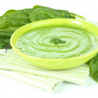 Tasty spinach soup, isolated on white — Stock Photo #32684443