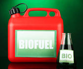 Bio fuels in canister and vial on green background — Stockfoto