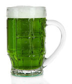 Glass of green beer and hops, isolated on white — Stock Photo