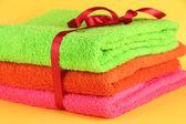 Ręczniki związany z bliska wstążka — Zdjęcie stockowe