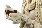 Mãos femininas com bebida quente, na luz de fundo — Foto Stock