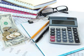 Office supplies with money and documents close up — Stock Photo
