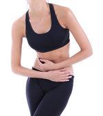 Dor abdominal isolado no branco — Foto Stock