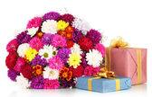 Bellissimo mazzo di crisantemi isolato su bianco — Foto Stock