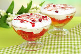 Tasty jelly in bowls on table on light background — Stock Photo