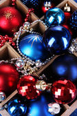Christmas toys in wooden box close-up background — Stock Photo