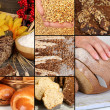 Stock Photo: Bread and harvesting wheat collage