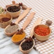 Various spices and herbs on table close up — Foto de Stock